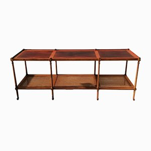 American Walnut, Cane, and Rosewood Console Table from Baker Furniture Company, 1960s