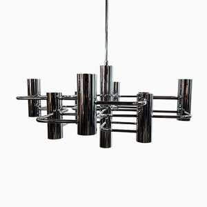Vintage Chrome Chandelier by Gaetano Sciolari, 1970s