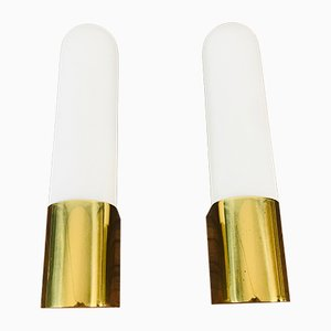Mid-Century Opaline Glass and Brass Sconces from Limburg, 1980s, Set of 2