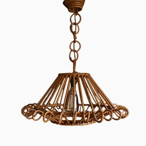 Bamboo and Rattan Pendant Lamp, 1950s