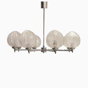 Lámpara de araña Art Déco de metal y vidrio, años 20