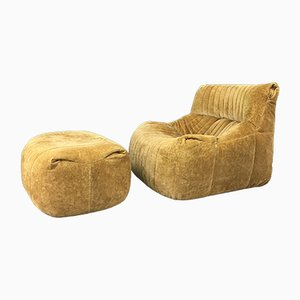Lounge Chair and Ottoman by Michel Ducaroy for Ligne Roset, 1970s, Set of 2
