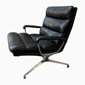 Black Leather Armchair by Paul Tuttle, 1960s
