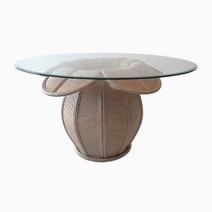 Amerikanischer Esstisch mit Gestell aus Rohrgeflecht & Glasplatte, 1970er