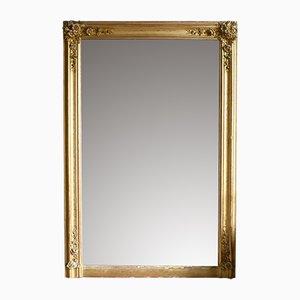 Antiker französischer Spiegel mit vergoldetem Gipsrahmen