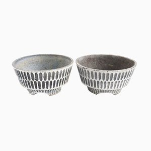 Mid-Century Concrete Planters, Set of 2