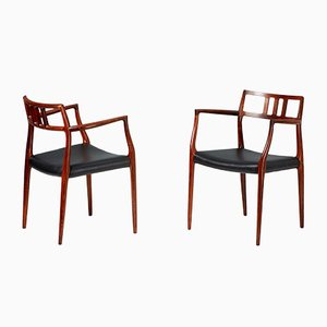 Model 64 Rosewood Armchairs by Niels Otto Møller for J.L. Møllers, 1966, Set of 2