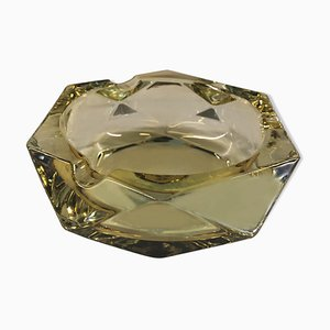 Yellow Beveled Glass Ashtray, 1950s