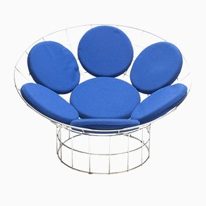 Mid-Century Blue Peacock Lounge Chair by Verner Panton