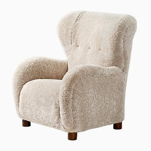 Danish Sheepskin and Beech Armchair, 1940s