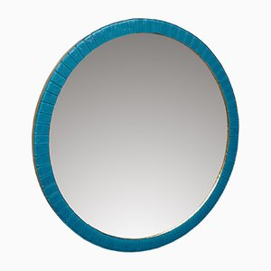 Round Blue Murano Glass and Brass Framed Wall Mirror, 1950s