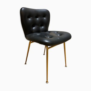 Brass and Skai Side Chair by Louis Sognot for Arflex, 1950s