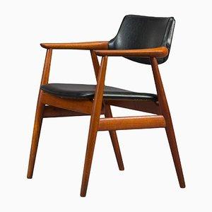 Dänischer Armlehnstuhl aus Teak & Kunstleder von Erik Kirkegaard für Høng Stolefabrik, 1950er