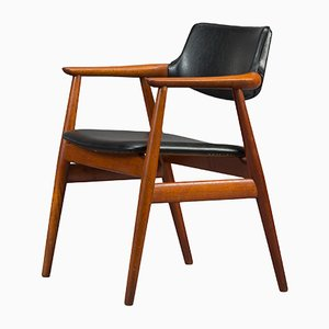 Danish Teak and Leatherette Armchair by Erik Kirkegaard for Høng Stolefabrik, 1950s