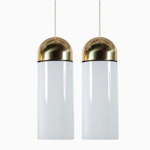 Lampade da soffitto grandi in vetro e ottone di Limburg, anni '80, set di 2