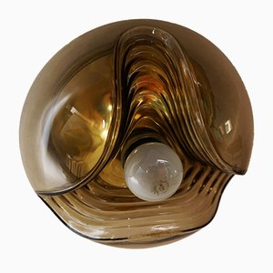 Smoked Glass Model Wave Ceiling Lamp by Koch & Lowy for Peill & Putzler, 1970s