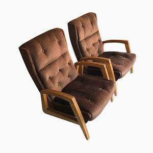 Model FS144 Brown Velvet Armchairs from Steiner, 1950s, Set of 2