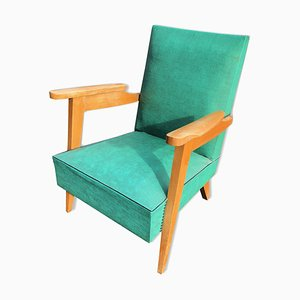 Oak and Green Skai Armchair, 1950s