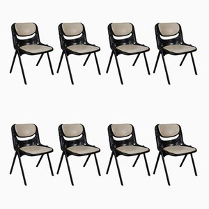Model Dorsal Stackable Desk Chairs by G. Piretti and E. Ambasz for Openark, 1980s, Set of 8