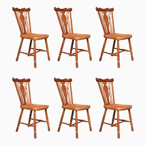 Antique Yew and Elm Windsor Side Chairs, Set of 6