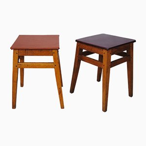 Beech Stools, 1950s, Set of 2