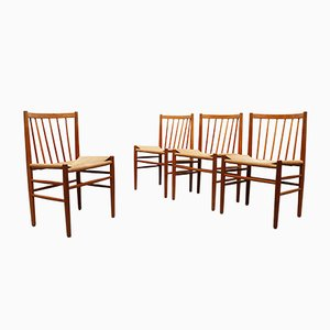 Model J80 Oak and Paper Cord Dining Chairs by Jørgen Bækmark for FM Møbler, 1950s, Set of 4