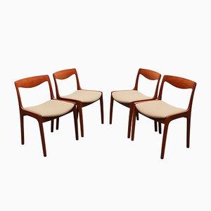 Chaises de Salle à Manger en Teck par Vilhelm Wohlert pour Poul Jeppesens Møbelfabrik, 1956, Set de 4