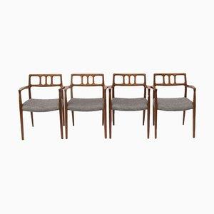Spanische Mid-Century Esszimmerstühle aus Nussholz, 1960er, 4er Set