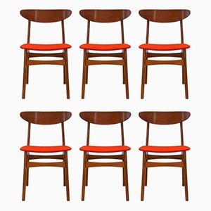 Chaises de Salle à Manger en Teck de Falsled Mobelfabrik, Danemark, années 60, Set de 6