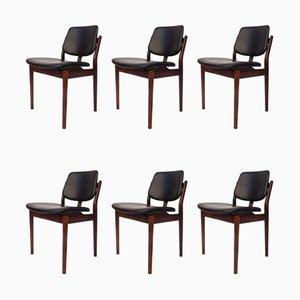Mid-Century Esszimmerstühle aus Palisander & Leder von Arne Vodder, 6er Set