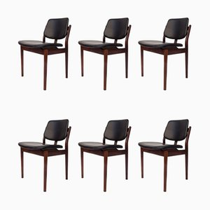 Mid-Century Rosewood and Leather Dining Chairs by Arne Vodder, Set of 6