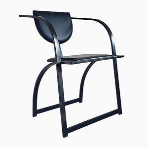 Silla de escritorio alemana posmoderna de acero negro y cuero, años 80