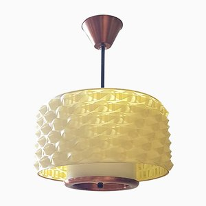 Lampe à Suspension en Laiton et en Plastique, années 50