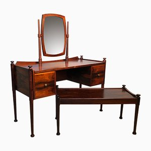 Danish Rosewood Dressing Table and Bench, 1960s, Set of 2