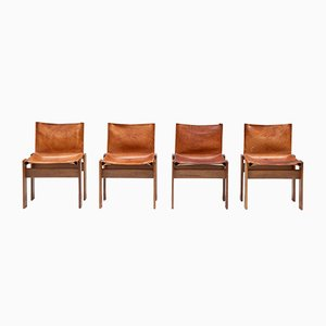 Monk Dining Chairs by Tobia & Afra Scarpa for Molteni, 1970s, Set of 4