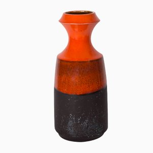 Danish Orange and Brown Ceramic Jar, 1970s