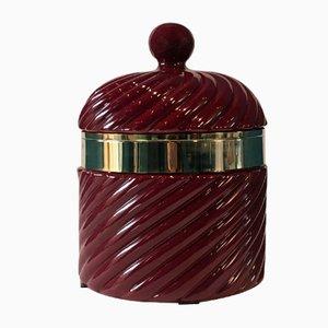 Italian Red Ceramic Ice Bucket, 1970s