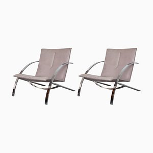 Vintage Leather Model Arco Chaise Lounges by Paul Tuttle for Strässle, Set of 2