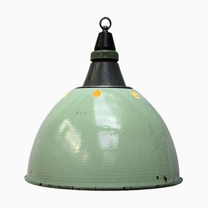Light Green Enamel Cast Aluminum Ceiling Lamp, 1950s