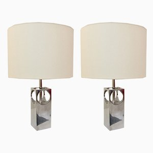 Vintage French Aluminum Table Lamps, 1970s, Set of 2