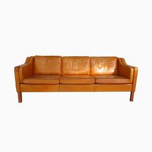 Sofá modelo MH195 danés vintage de cuero coñac de Mogens Hansen para MH Furniture