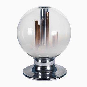 Tischlampe mit Kugel aus Muranoglas & Elementen aus Kupfer von Angelo Brotto, 1960er