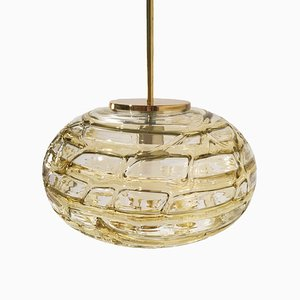 Mid-Century Amber Glass Ceiling Lamp from Doria Leuchten