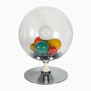 Barbarella Tischlampe aus emailliertem & verchromtem Metall & Glas von Angelo Brotto, 1960er