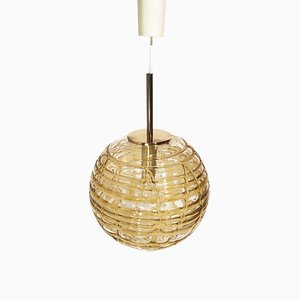 Amber Glass Ceiling Lamp from Doria Leuchten, 1960s