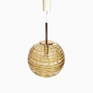 Amber Glass Ceiling Lamp from Doria Leuchten, 1960s