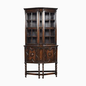 Antique Jacobean Style Oak Display Cabinet