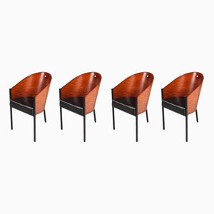 Wood and Leather Dining Chairs by Philippe Starck, 1980s, Set of 4