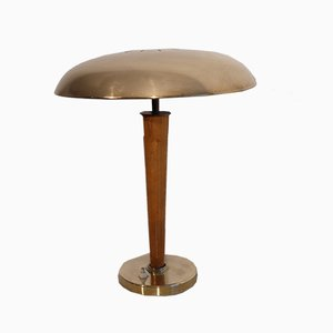 Swedish Brass and Teak Table Lamp from Boréns, 1950s