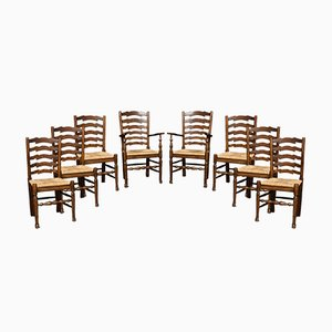 Antike Esszimmerstühle aus Eiche, 8er Set